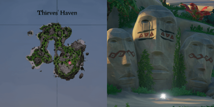 An overhead view of where to find the key on Thieves Haven.