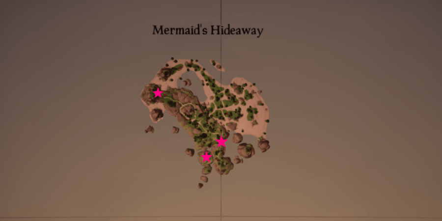 An overhead view of the all the medallions locations on Mermaids Hideaway.