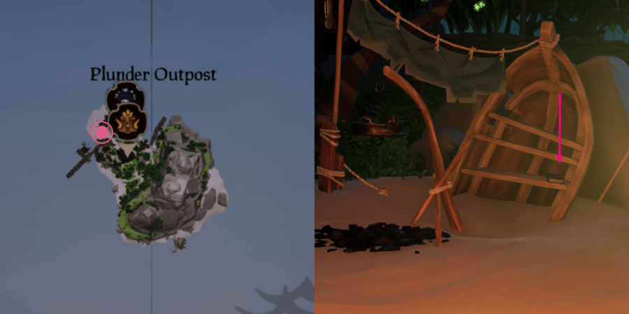 A view of where the journal is on Plunder Outpost.