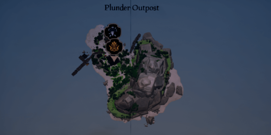 An overhead view of Plunder Outpost.