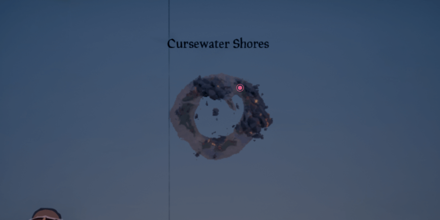 the artifact location on Cursewater shores.