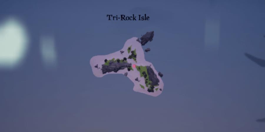 The artifact location on Tri-rock isle.
