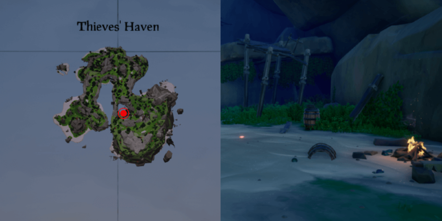 An overhead view of the Jewel's location at Thieves' Haven.