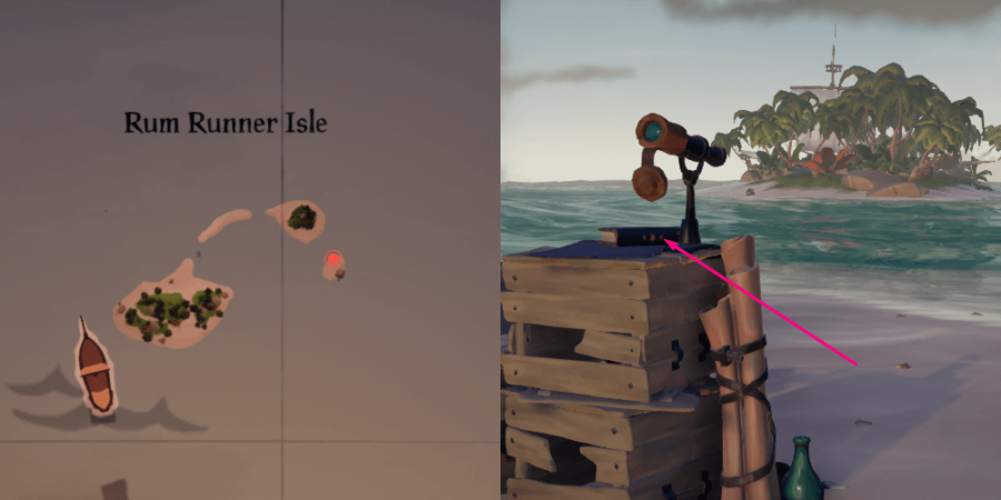 An overhead view of the Journal Location on Rum Runner Isle.