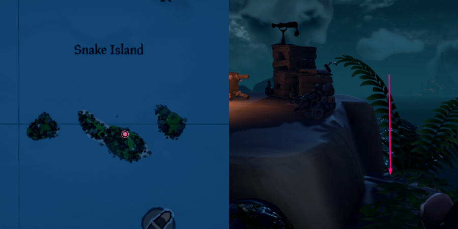 An overhead view of the Journal Location on Snake Island.