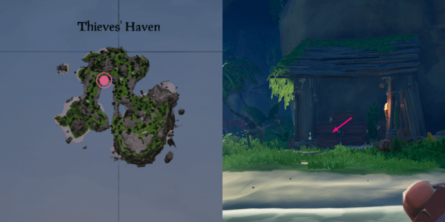 A view of where the journal is on Thieve's Haven.