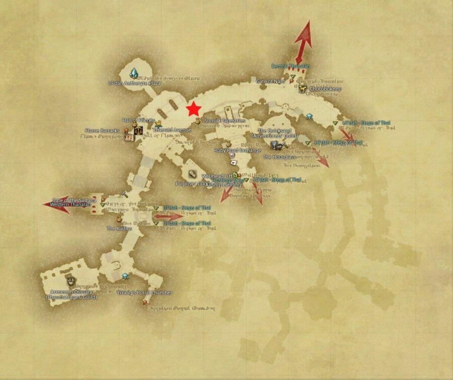 Hildibrand quest map Uldah