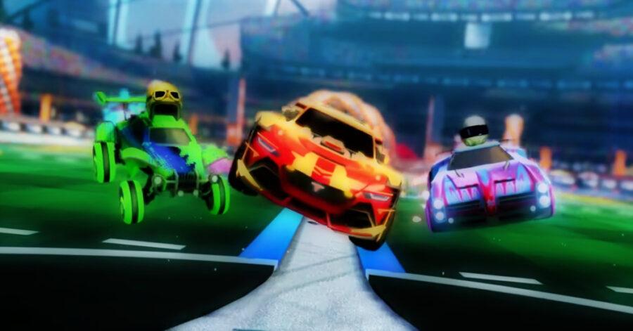 Screenshot of Rocket League gameplay