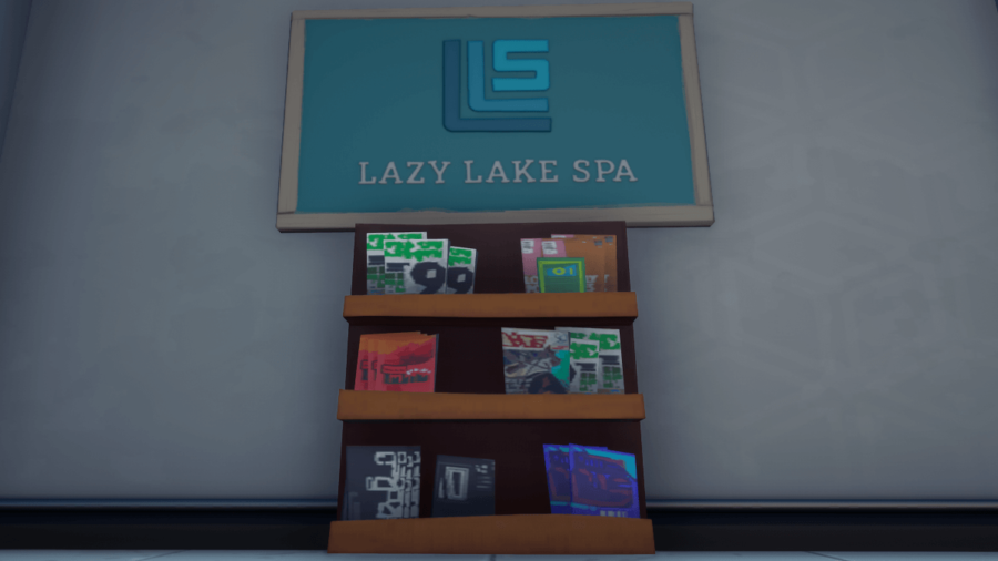 The magazine stand at Lazy Lake Spa in Fortnite.