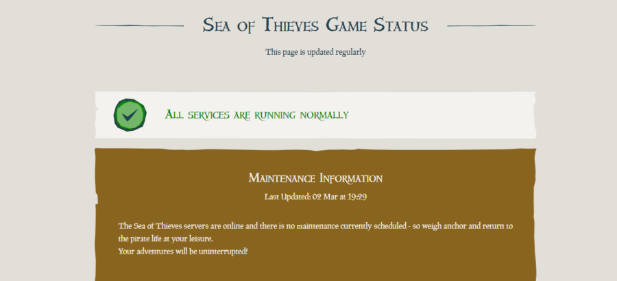 The Sea of Thieves server status page.