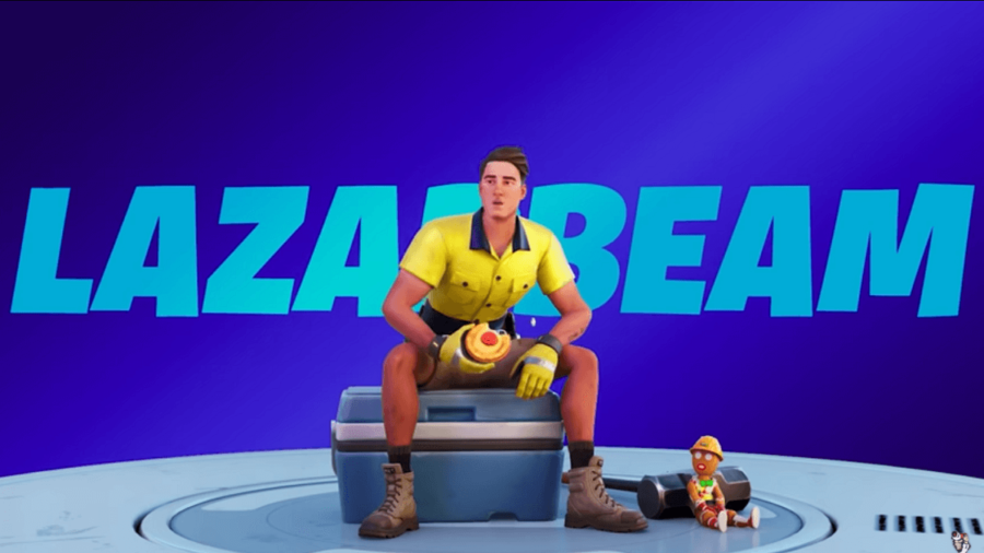 Lazarbeam eating a cherry tart in Fortnite.