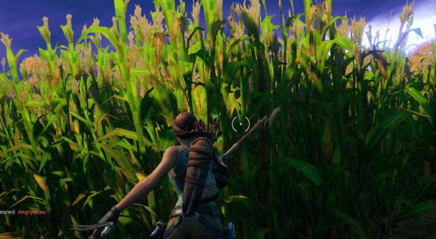A character harvesting corn in Fortnite.