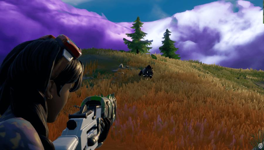 Hunting a Boar in Fortnite.