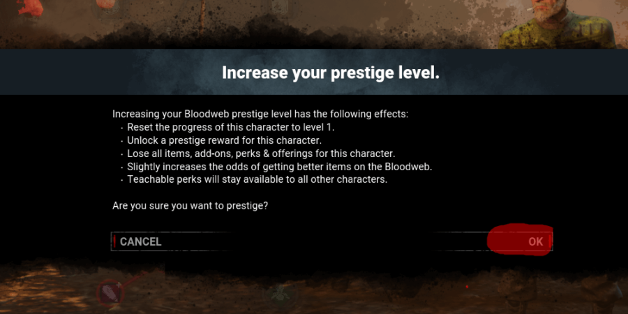 The final step to prestige a character in Dead by Daylight.