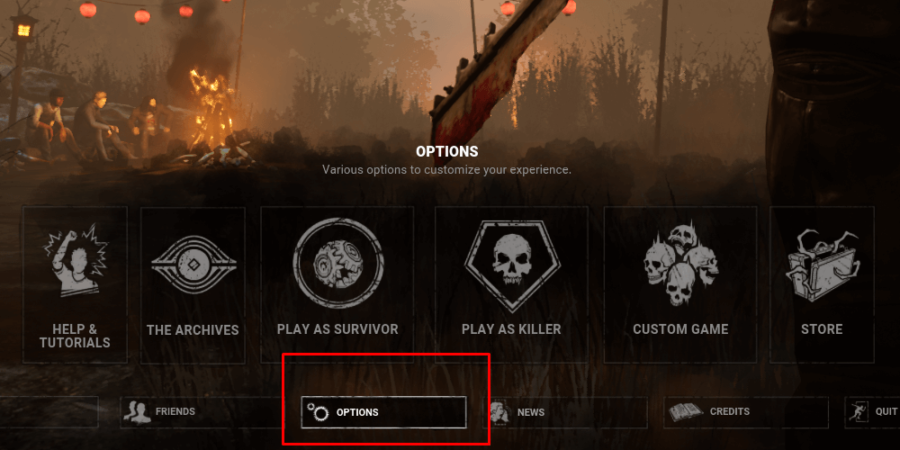The Options button on the menu in Dead by Daylight.