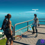 An NPC dropping an item in Fortnite.