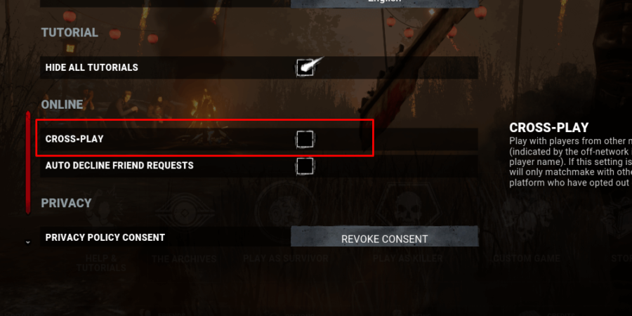 The crossplay setting in the options menu of Dead by Daylight.