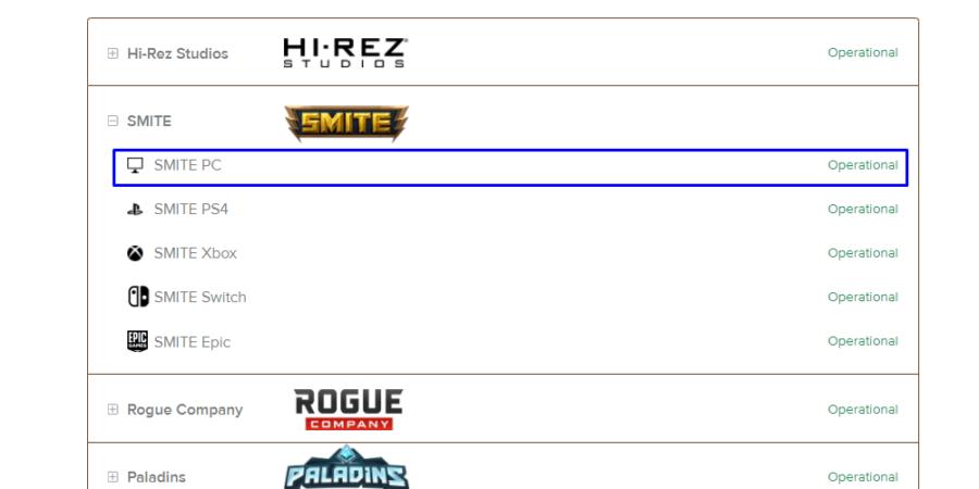 The Smite option on the Hi-Rez server page.