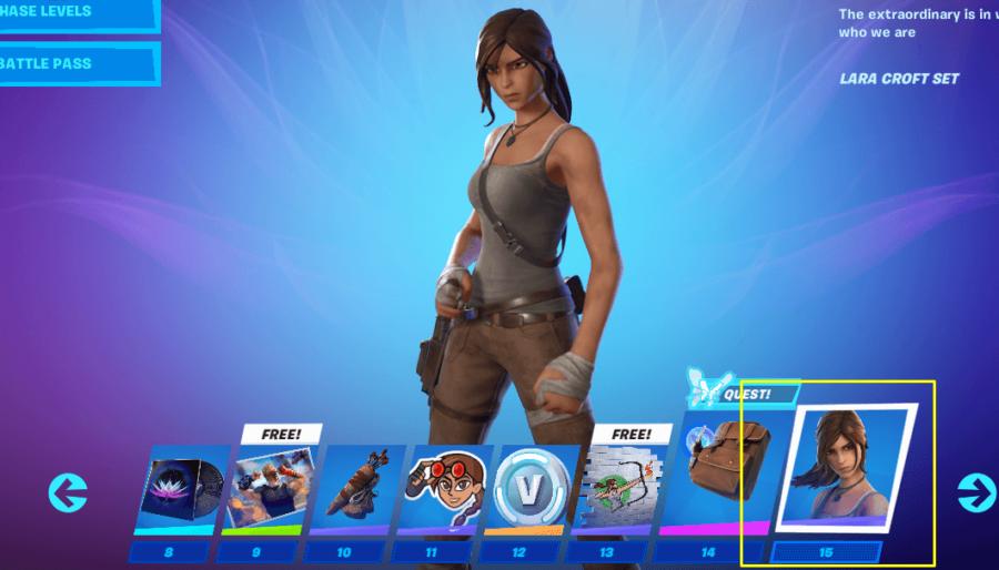 How to access Lara Croft in Fortnite.