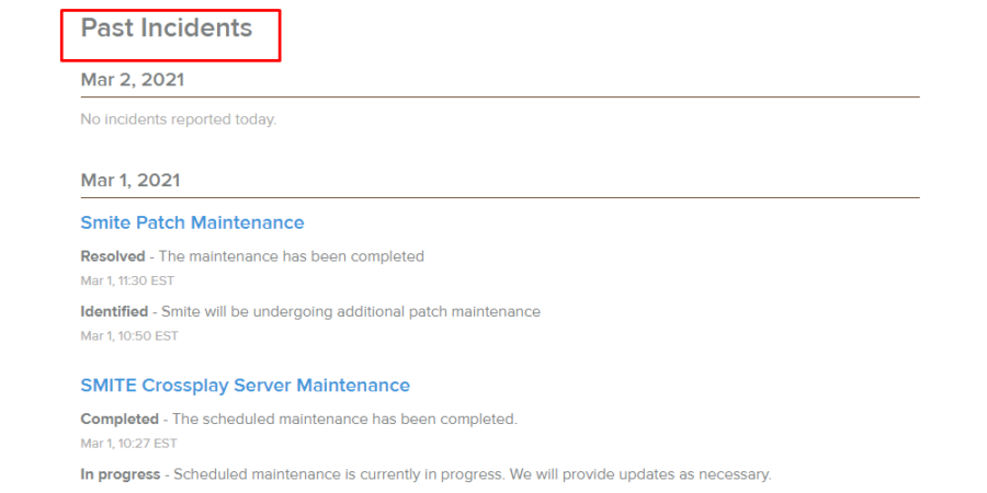 The recent issues on the Hi-Rez server status page.