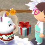 Characters exchanging gifts in Animal Crossing.