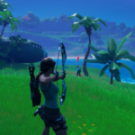 Lara Croft Attacking Raptor in Fortnite.