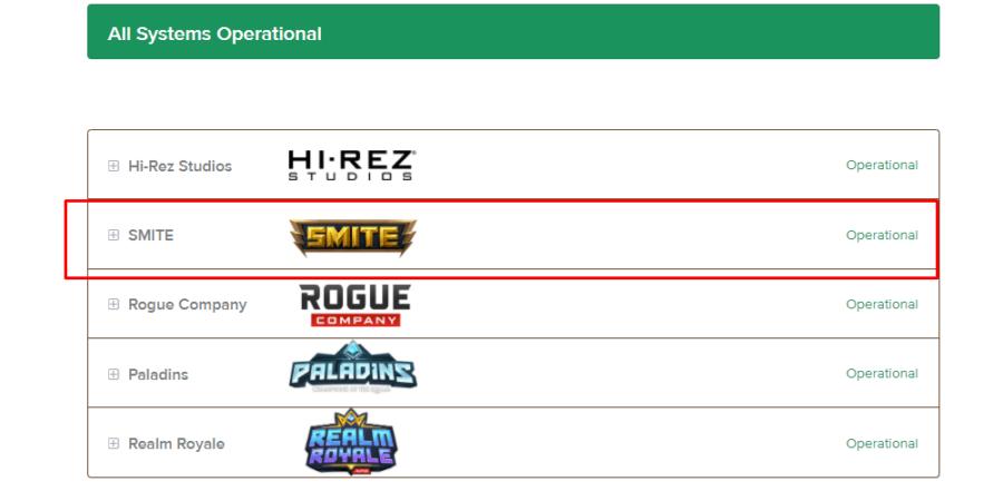 The menu selection on Hi-Rez server page.
