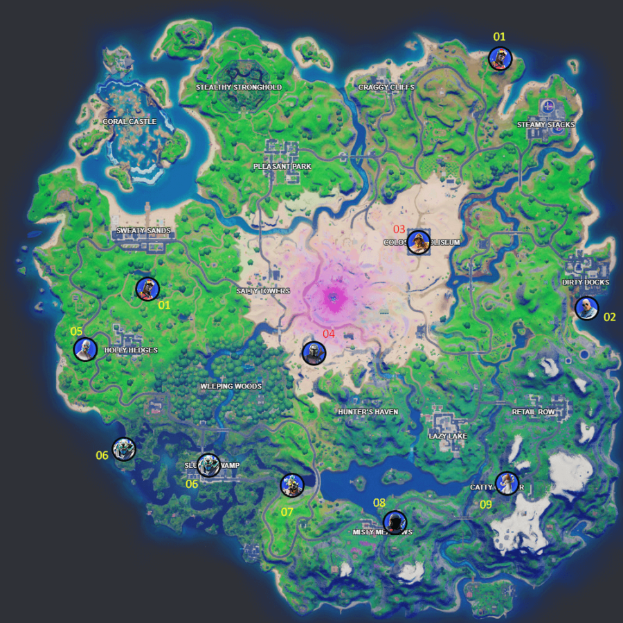 All Fortnite Duel NPC locations.