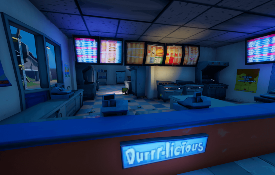 A restaurant kitchen in Fortnite.
