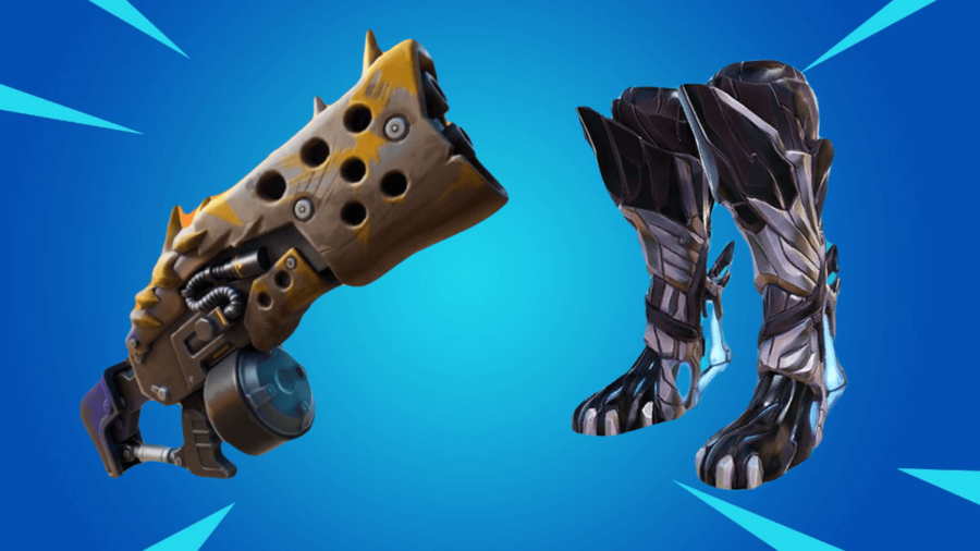 A Primal Shotgun and Spire Jump boots in Fortnite.