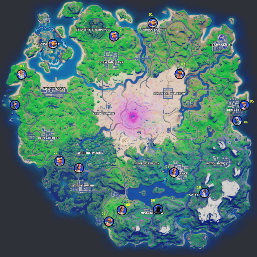 All the upgrade locations for Chapter 2 Season 5 in Fortnite.