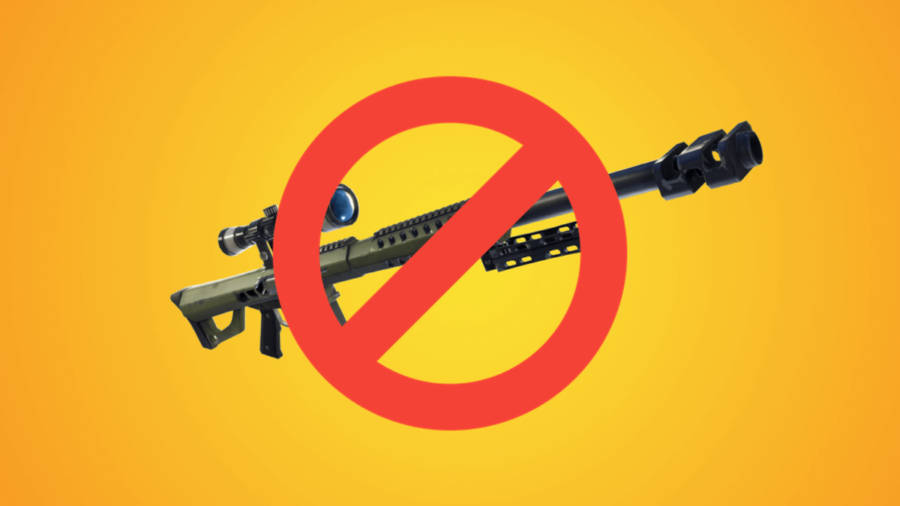 A Fortnite Sniper with a cancel sign.