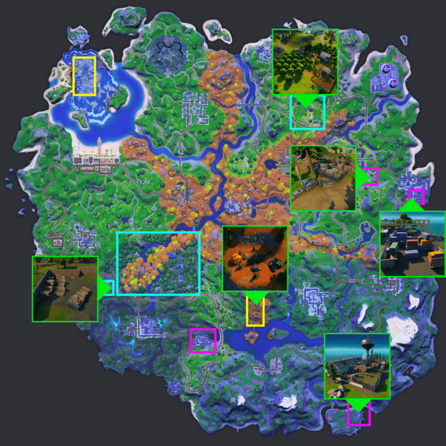 Map of good places to harvest resources in Fortnite Season 6.