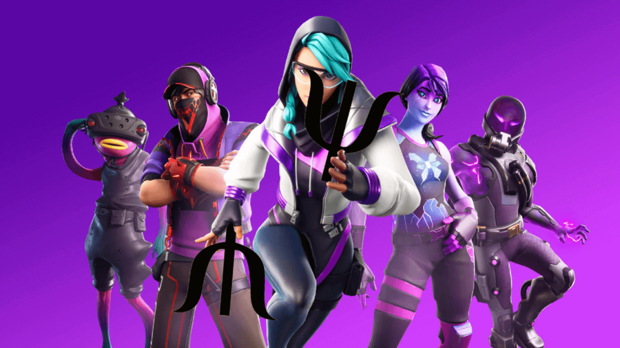 A Fortnite character holding two Psi symbols.
