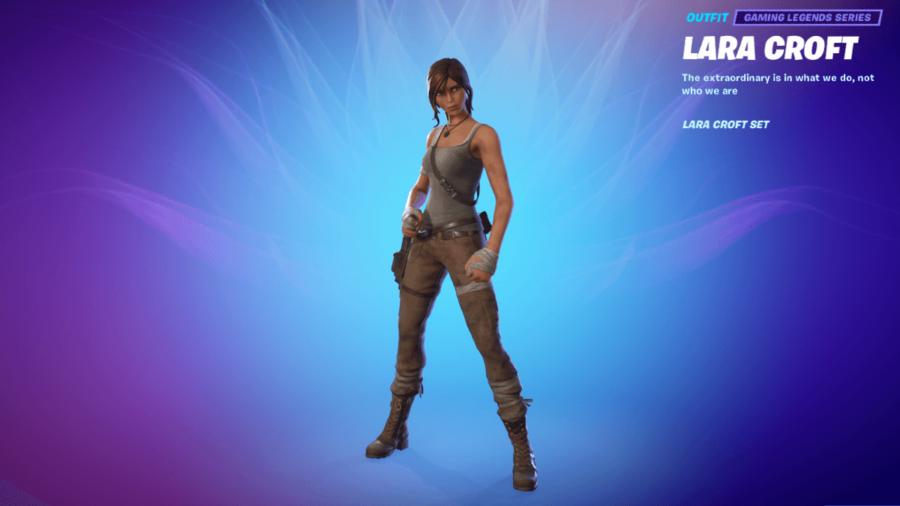 A featured Lara Croft in Fortnite.