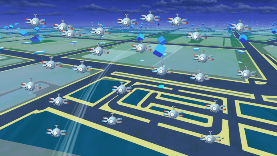 Several Magnemites on a Pokemon Go Background.