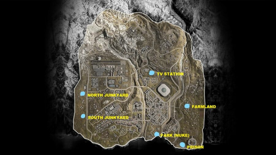The map of all the bunkers in COD Warzone.