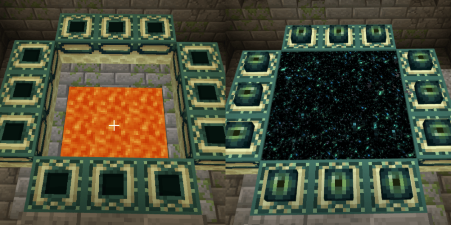 Before and after placing Ender Eyes.