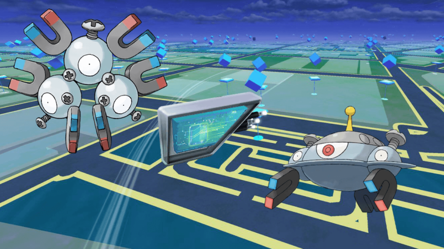 A Magneton, Magnet Lure Module, and Magnezone.
