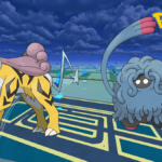 Pokemon Go background with Raikou and Tangowrth.