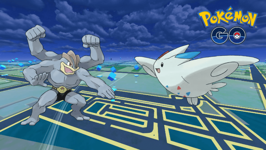 A Machamp and Togekiss on a Pokemon Go Background.