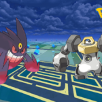 A Mega Gengar and Melmetal against a Pokemon go Background.