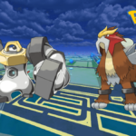 Entei and Melmetal on a Pokemon Go Background.