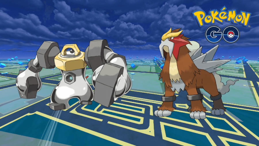 Entei and Melmetal on a Pokemon Go Background.