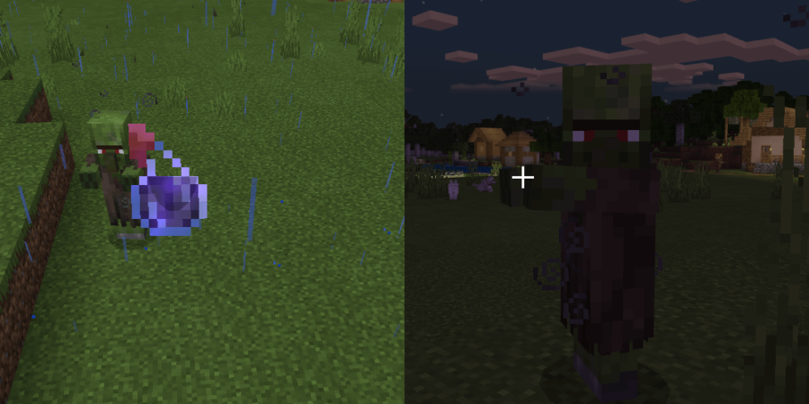A Zombie Villager under the Weakness Effect.