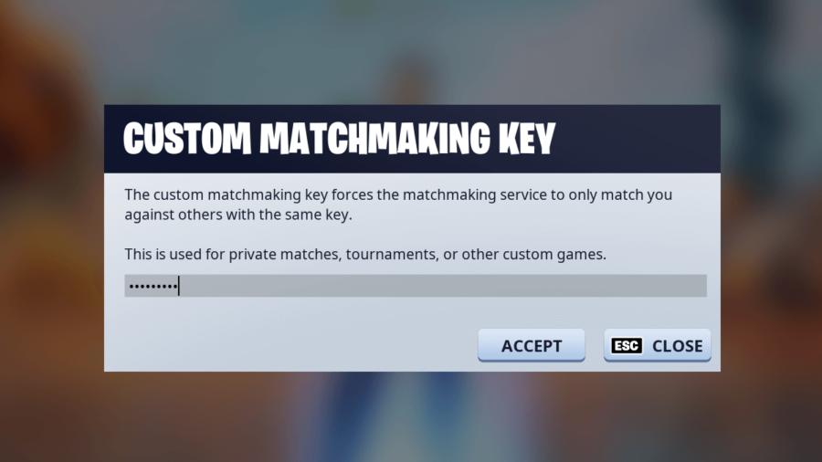 The Custom Matchmaking key screen.