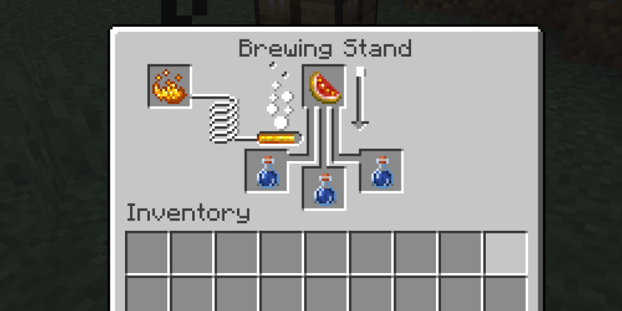 Brewing with Glistering Melon in Minecraft.