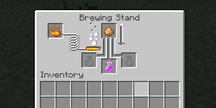 Brewing with Glowstone in Minecraft.