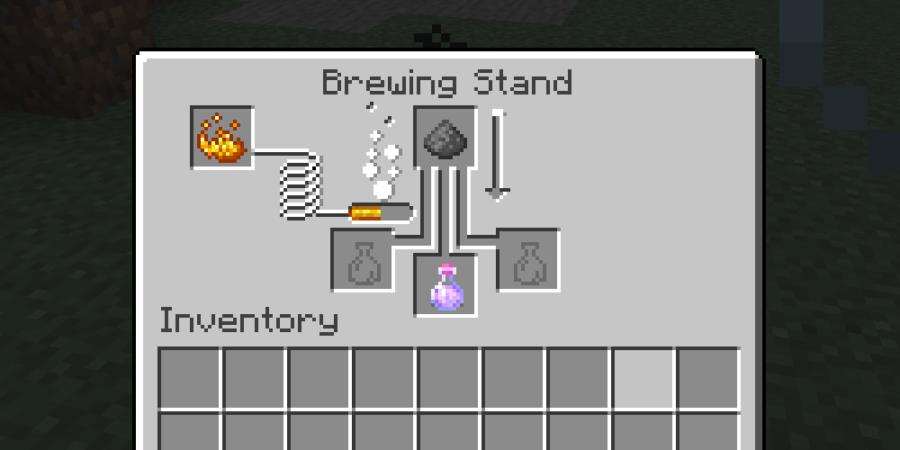 Brewing with Gunpowder in Minecraft.