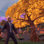 John Wick setting the world on fire in Fortnite.